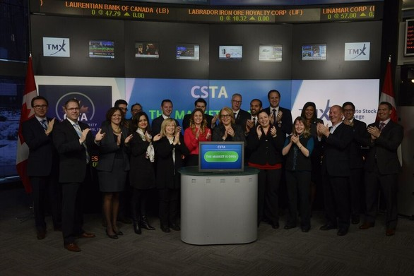 Laura and csta ring opening bell at tsx